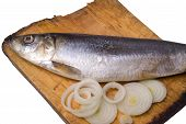 Herring with onion on old wooden board poster
