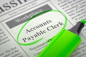 Accounts Payable Clerk - Small Ads of Job Search in Newspaper, Circled with a Green Highlighter. Blurred Image. Selective focus. Job Seeking Concept. 3D Rendering. poster