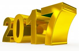 year 2017 golden numbers isolated on white