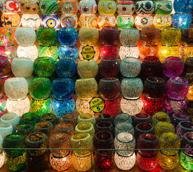Colorful Candle Holders In Egyptian Spice Bazaar