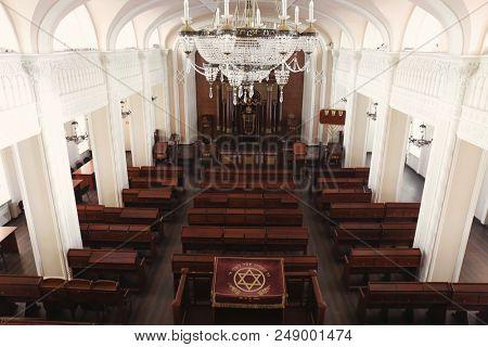 KYIV, UKRAINE - JANUARY 18, 2018: Brodsky Choral Synagogue interior. Jewish religion
