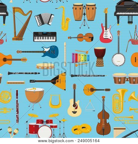 Musical Instrumental Seamless Pattern Background. Vector Illustracion