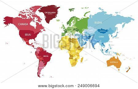 Political world map vector photo free trial bigstock political world map vector illustration with different colors for each continent and different tones for each country and country names in spanish gumiabroncs Images