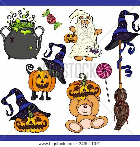 Scalable Vectorial Representing A Halloween Set Digital, Illustration With Elements For Your Design.