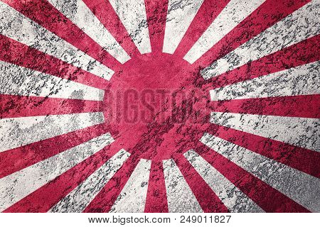Grunge Rising Sun Japan Flag. Japan Flag With Grunge Texture.
