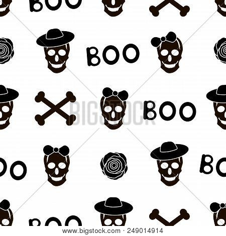 Seamless Pattern With Black Skulls, Words Boo And Bones On The White Background. Vector Illustration