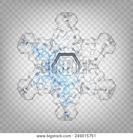 Stock Vector Illustration Realistic Snowflake. Isolated On A Transparent Background. Fall Of Snow. F