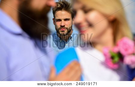Couple Romantic Date Lovers Flirting. Lovers Meeting Outdoor Flirt Romance Relations. Couple In Love