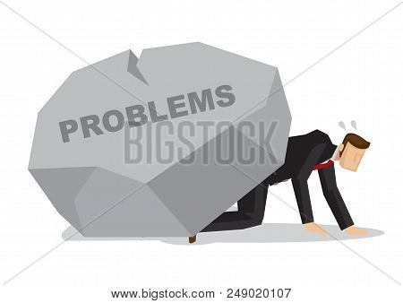 Tired Businessman Under A Giant Rock Title Problems. Corporate Business Crisis, Disaster, Misfortune