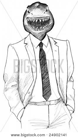 vector illustration of an aggressive shark in a human body poster