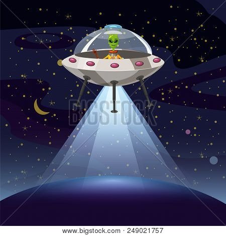 Ufo Poster. Flying Saucer, Alien Cartoon Style