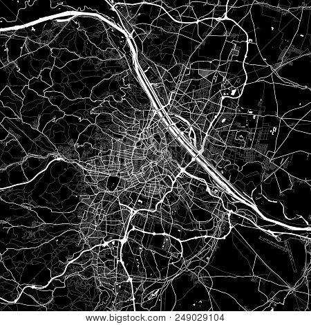 Area Map Of Vienna, Austria. Dark Background Version For Infographic And Marketing Projects. This Ma