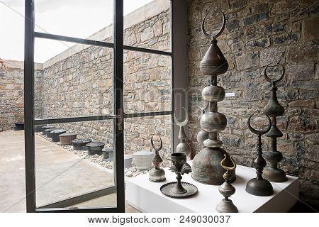 Bayburt, Turkey - June 20, 2018: Extraordinary Baksi Museum rising in Bayraktar village, where only 480 people living in 80 houses. Warehouse museum interior.