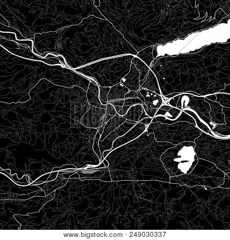 Area Map Of Villach, Austria. Dark Background Version For Infographic And Marketing Projects. This M