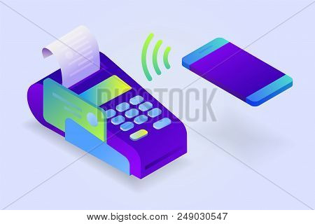 Confirms The Payment By Mobile Phone, Sales Printed Receipt. Pos Terminal, Electronic Bill Payment.