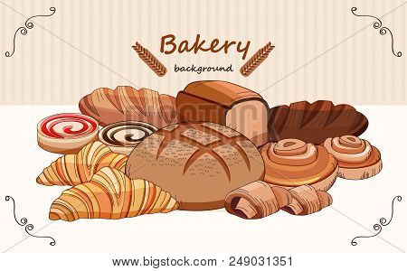 Set Bread Products, Pastries Vector On A White Background, Sliced Loaf, French Baguette, Rye Bread,