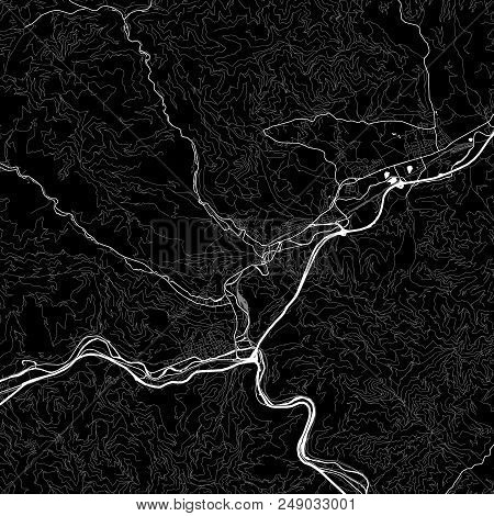 Area Map Of Kapfenberg, Austria. Dark Background Version For Infographic And Marketing Projects. Thi