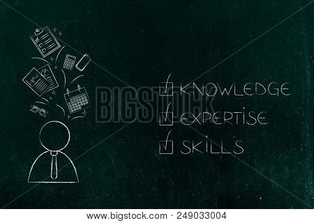 Business Start-up Success Conceptual Illustration: Knowledge Expertise Skills Ticked Off And Busines