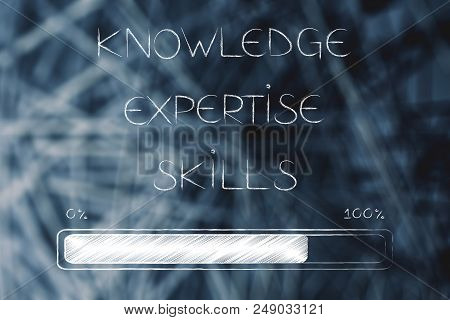 Knowledge Expertise And Skills Conceptual Illustration: Text With Progress Bar Loading