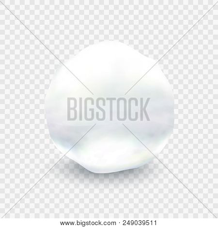 Stock Vector Illustration Snowball Closeup. Ball Of Snow Isolated On A Transparent Background. Eps 1