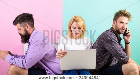 Gadget Addiction. Modern People Mobile Gadgets Laptop. Modern Technology. Men And Woman Networking B