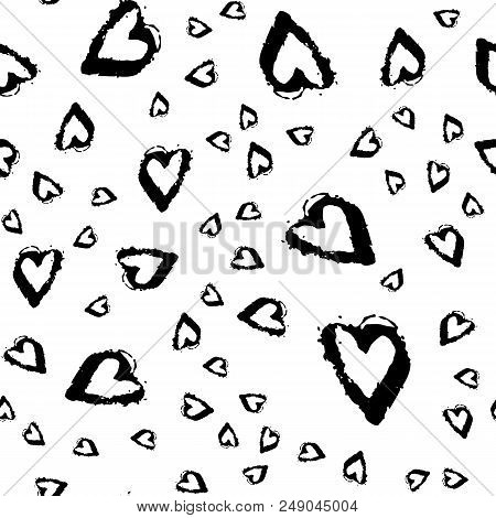 Vector Seamless Pattern With Brush Heartss. Black Color On White Background. Hand Painted Grange Tex
