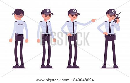 Male Security Guard. Uniformed Officer, Protective Agent With Portable Radio. Public And Private Cit