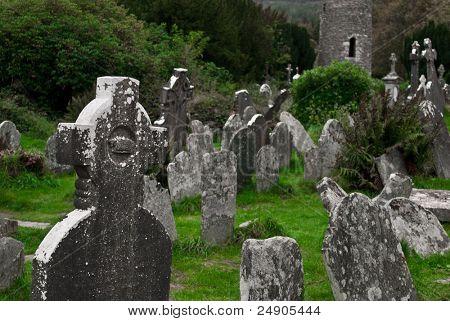 Ancient Celtic gravesite with unmarked gravestones in Ireland