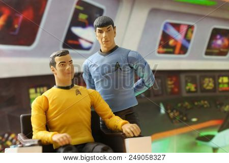 JULY 9 2018: Scene from Star Trek the Original Series - Captain James T Kirk and First Officer Mr. Spock aboard the bridge of the USS Enterprise - Art Asylum action figures