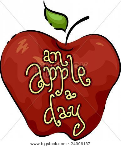 Icon Illustration Featuring an Apple
