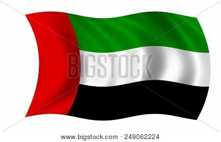 Waving Arab Emirates Flag In The Colors Red, Green, White And Black