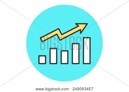 Icon Of Growth Chart. White And Yellow Growth Chart In Line Graphic. Line Graphic Style. Sign Of The