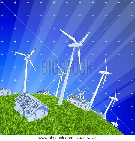 Ecology concept: wind-driven generators, houses with solar power systems, blue sky & green grass. Bitmap copy my vector id