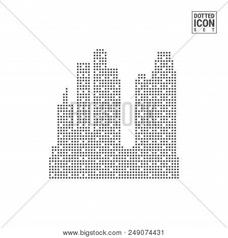 Big City Dot Pattern Icon. Big City Dotted Icon Isolated On White Background. Vector Illustration Of