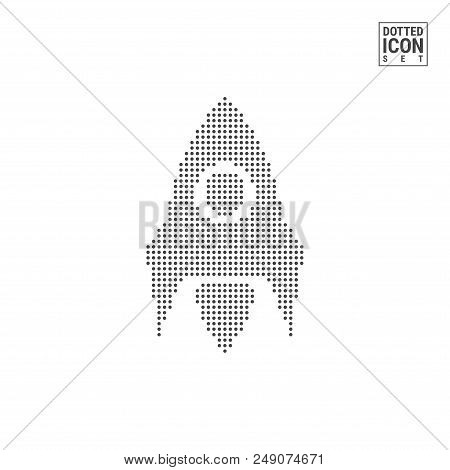 Rocket, Startup Dot Pattern Icon. Rocket Dotted Icon Isolated On White Background. Vector Illustrati