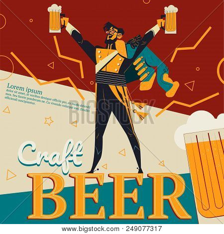 Craft Beer Vector Illustration Of Retro Advertisement Poster For Bar Or Pub With Revolutionary Conce