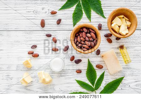 Natural Organic Cosmetics Based On Cocoa Butter. Cocoa Beans And Cocoa Butter, Soap, Cream, Oil Or L