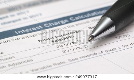 Bank Statement Shows Interest Rates With Pen