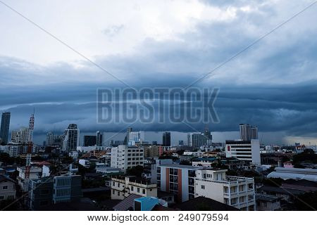 Storm Clouds Over The City, The Sky Is Covered With Black Storm Clouds