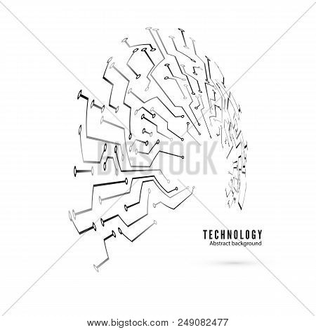 Circuit Pattern. Abstract Technology Circuit Board Circle Background. Vector Illustration Isolated O