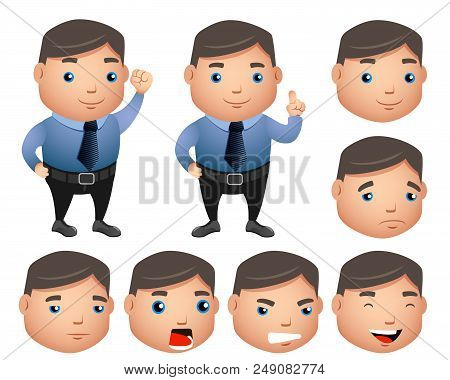 Business Character Vector Set With Chubby Sales Man In Office Attire With Facial Expressions In Isol