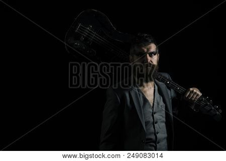 Music Concept. Bearded Man With Guitar To Play Music. Hipser With Musical Instrument, Music Hobby. L
