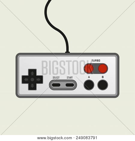 Game Controller. Retro Video Game Controller In Flat Style. Vector Illustration.