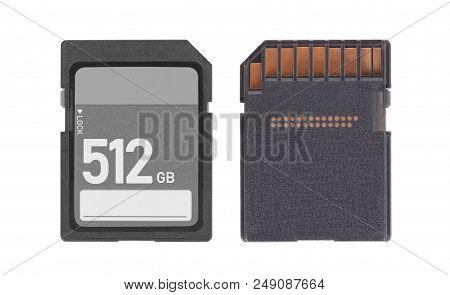 Memory Card Isolated On White Background - 512 Gigabyte