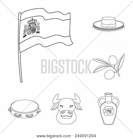 Spain Country Outline Icons In Set Collection For Design.travel And Attractions Vector Symbol Stock