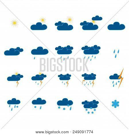Weather Icon Set. Meteorology Symbol Weather Forecast. Isolated Icons Prognosis Weather. Design Elem