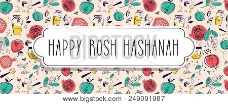 Greeting Banner With Symbols Of Jewish Holiday Rosh Hashana , New Year. With White Frame For Place F