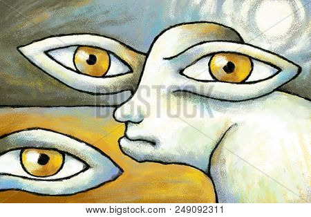 Poster Eyes Of Termites Original Surreal Digital Painting