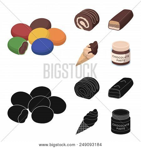 Dragee, Roll, Chocolate Bar, Ice Cream. Chocolate Desserts Set Collection Icons In Cartoon, Black St