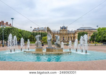 View At The Fountain At The Place Of Republic In Lille, France